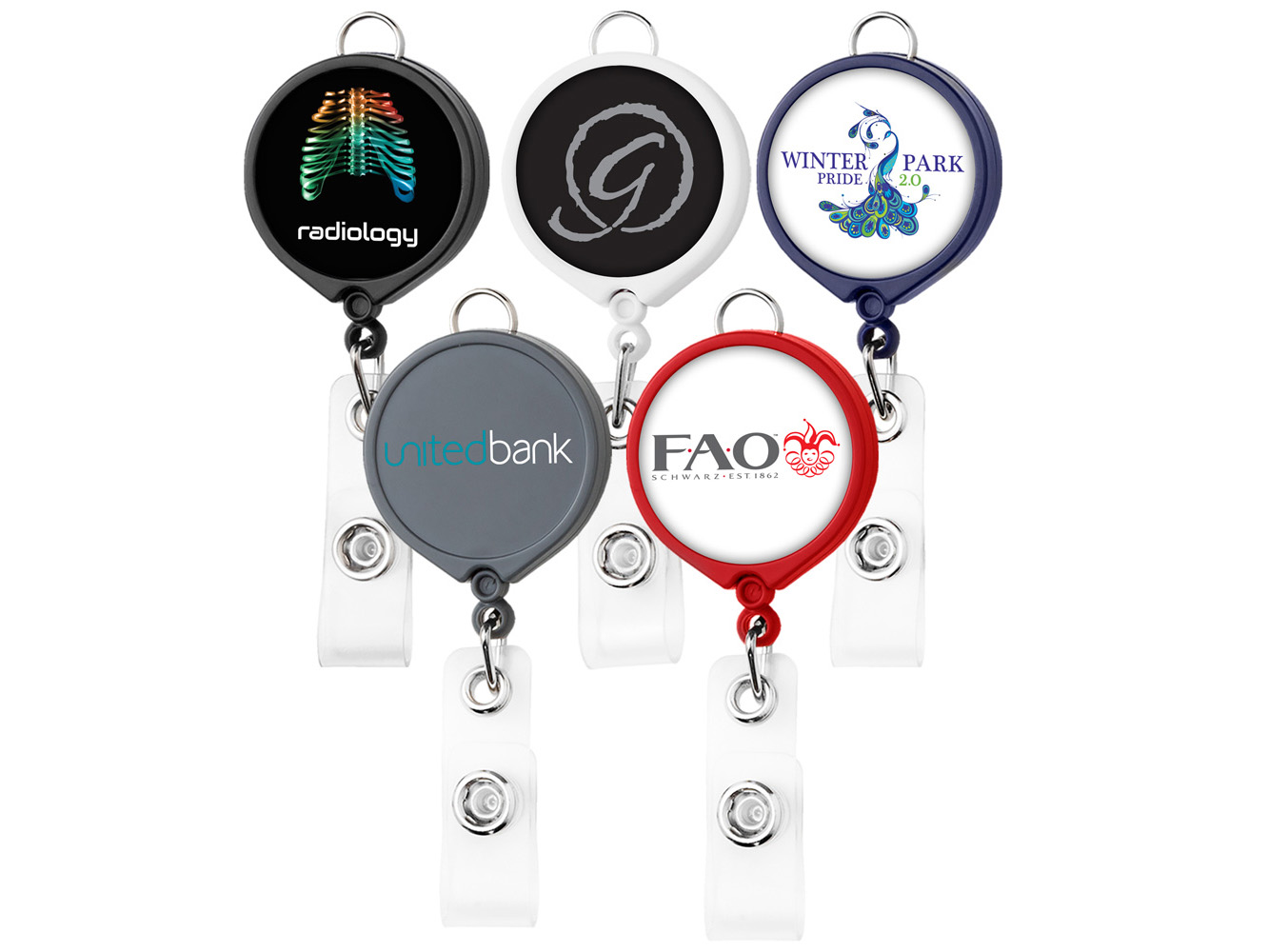 BH30:  Large Face Badge Reel w/ Lanyard Attachment (opaque colors)