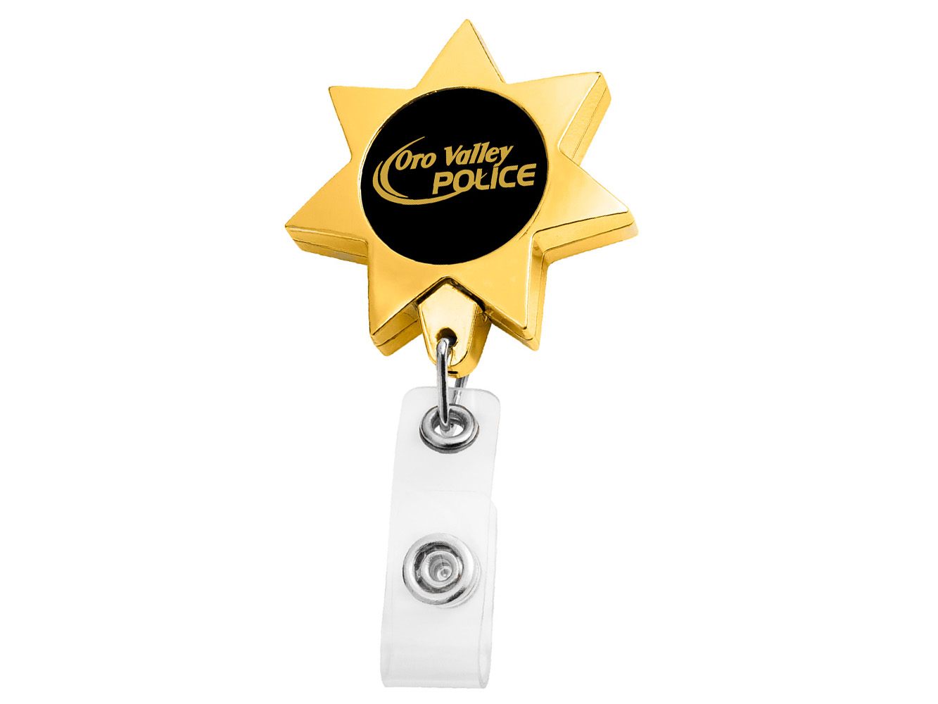 BH911GD:  Gold Seven Point Star Badge Reel