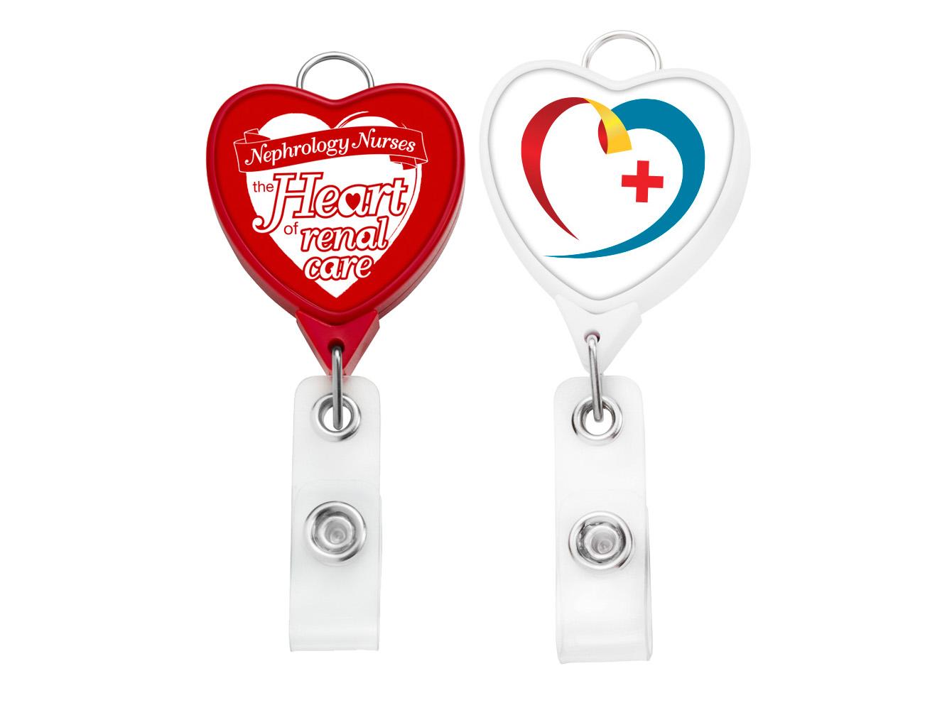 BHR85: JUMBO Heart Badge Reel w/Lanyard Attachment