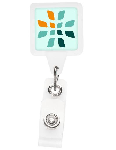 BHS3 Square Badge Reel - White