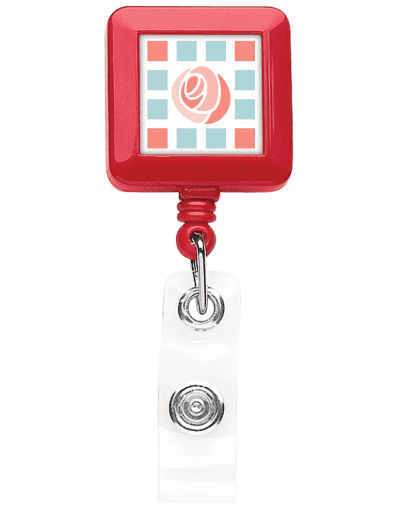 BHS40 Square badge Reel - Red