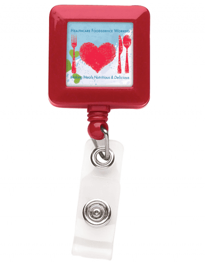 BHS7 Square Badge Reel - Red