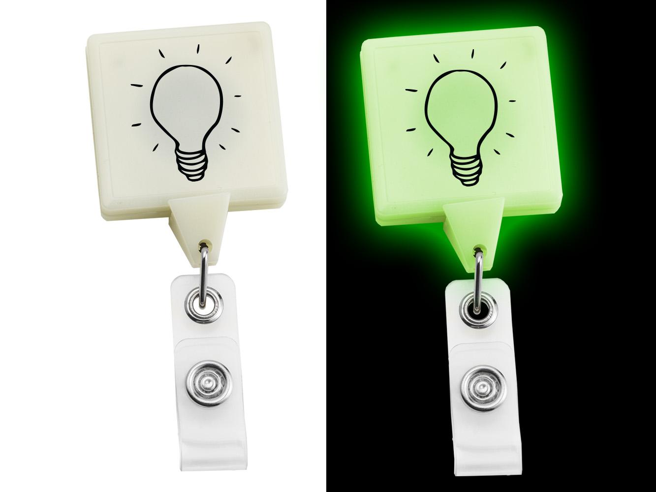 BHX55:  Glow in the Dark JUMBO Square Badge Reel
