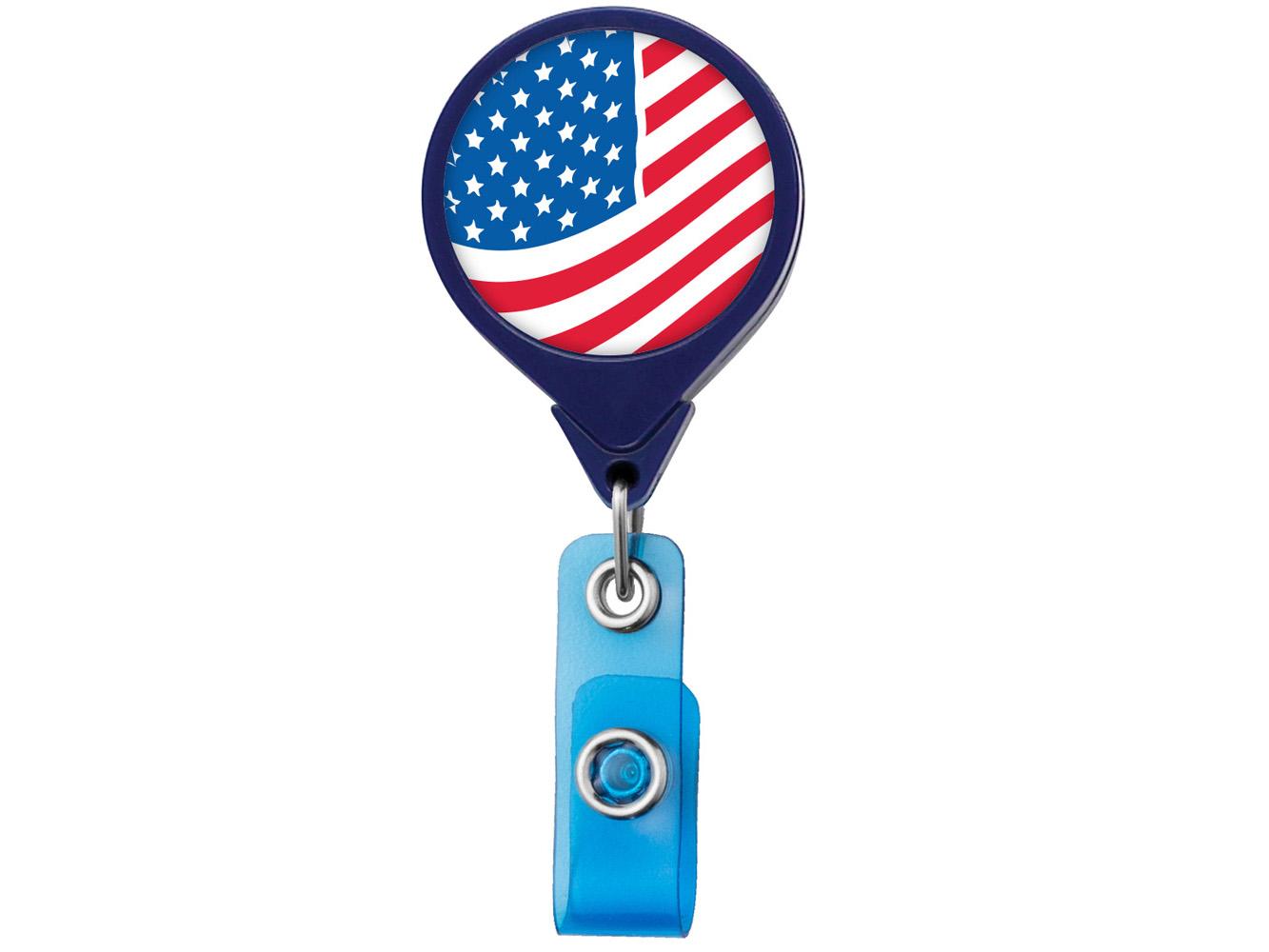 RF011: US Flag JUMBO Theme Badge Reel