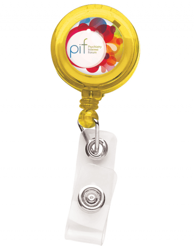 TBH1 Translucent Round Badge Reel -  Yellow