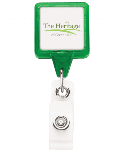 TBHS3 Translucent Square badge Reels -  Green