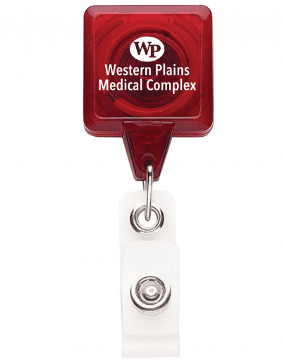TBHS3 Translucent Square badge Reels -  Red