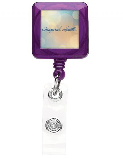 TBHS40 Translucent Square badge Reels -  Purple