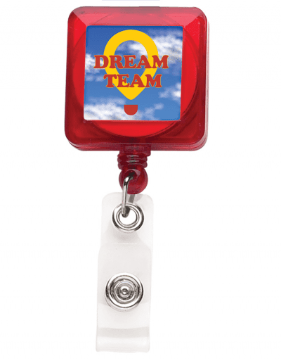 TBHS7 Translucent Square Badge Reel -  Red