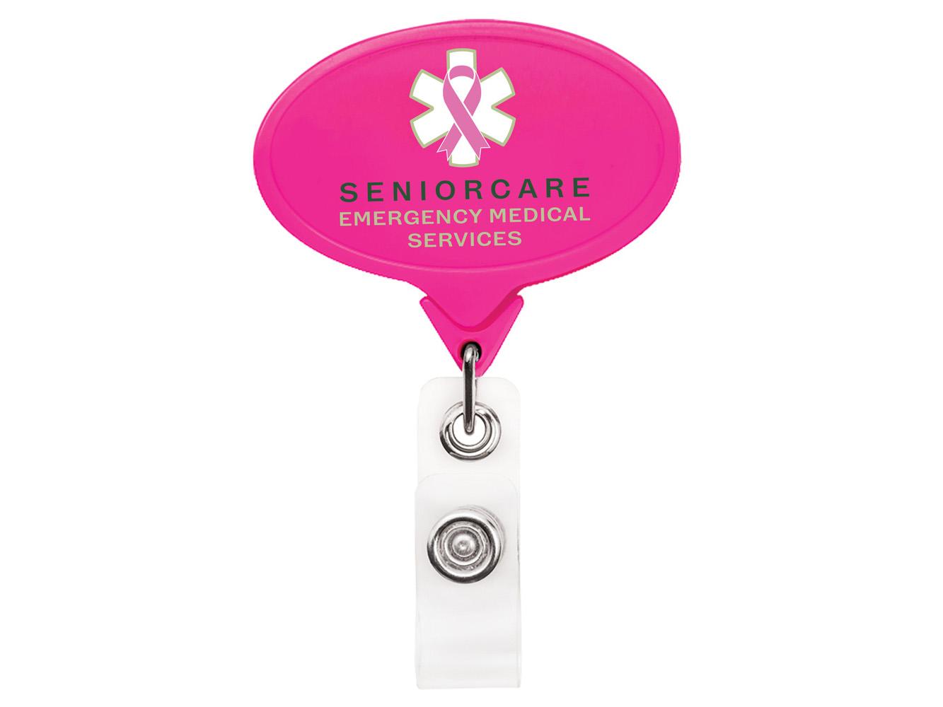 BH66HP: Hot Pink JUMBO Oval Badge Reel