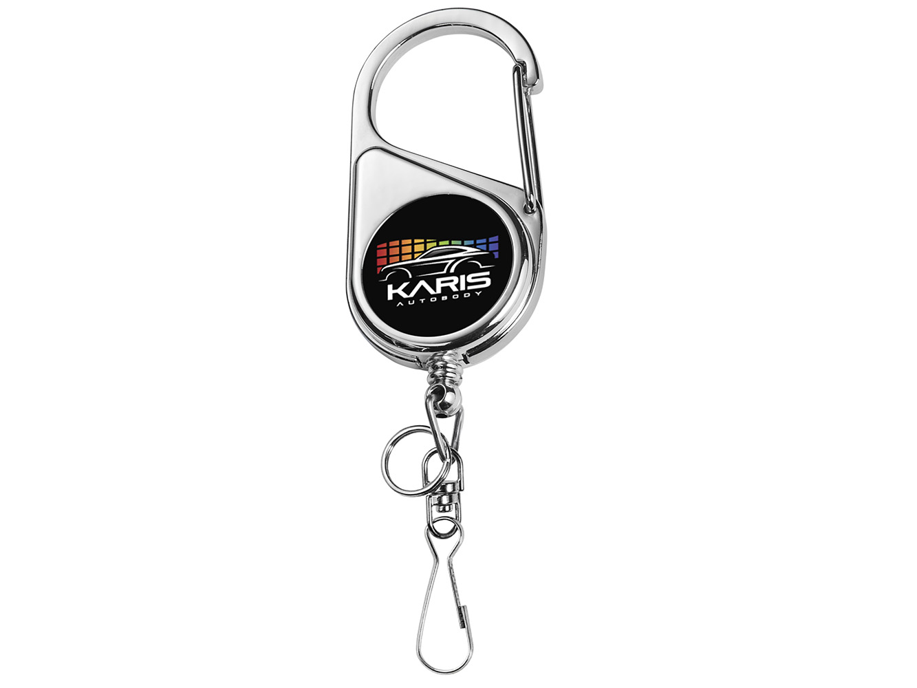 BH69CH:  Chrome Heavy Duty Carabiner Badge Reel