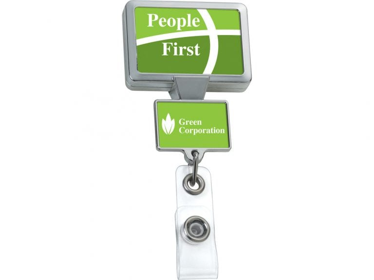 Chrome Double Up Rectangle Badge Reel