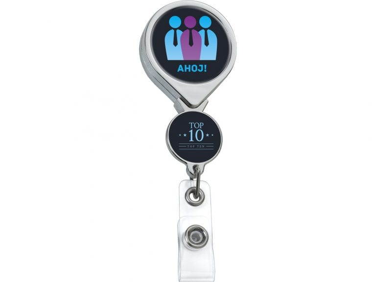 BHD44CH:  Chrome Double Up Round Badge Reel