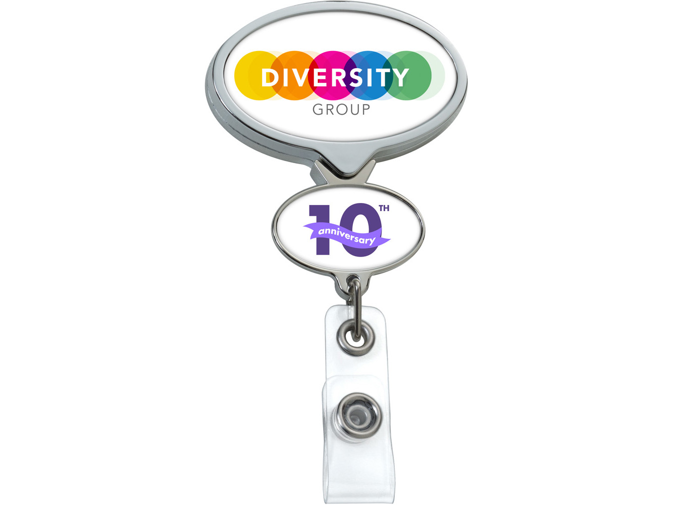 BHD66CH:  Chrome Double Up Oval Badge Reel