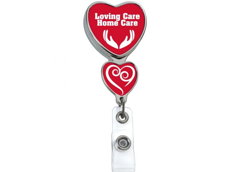 BHD85CH: Chrome Double Up Heart Badge Reel