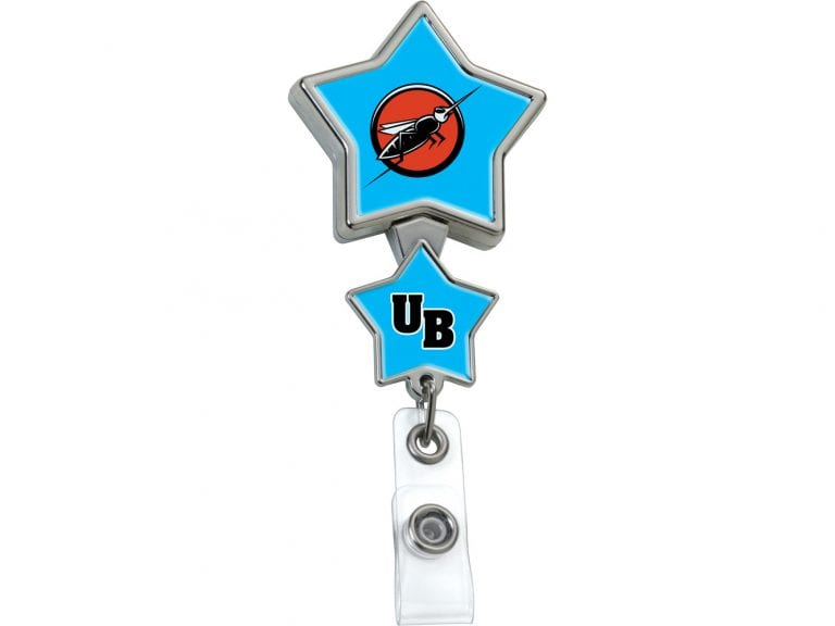 BHD86CH:  Chrome Double Up Star Badge Reel