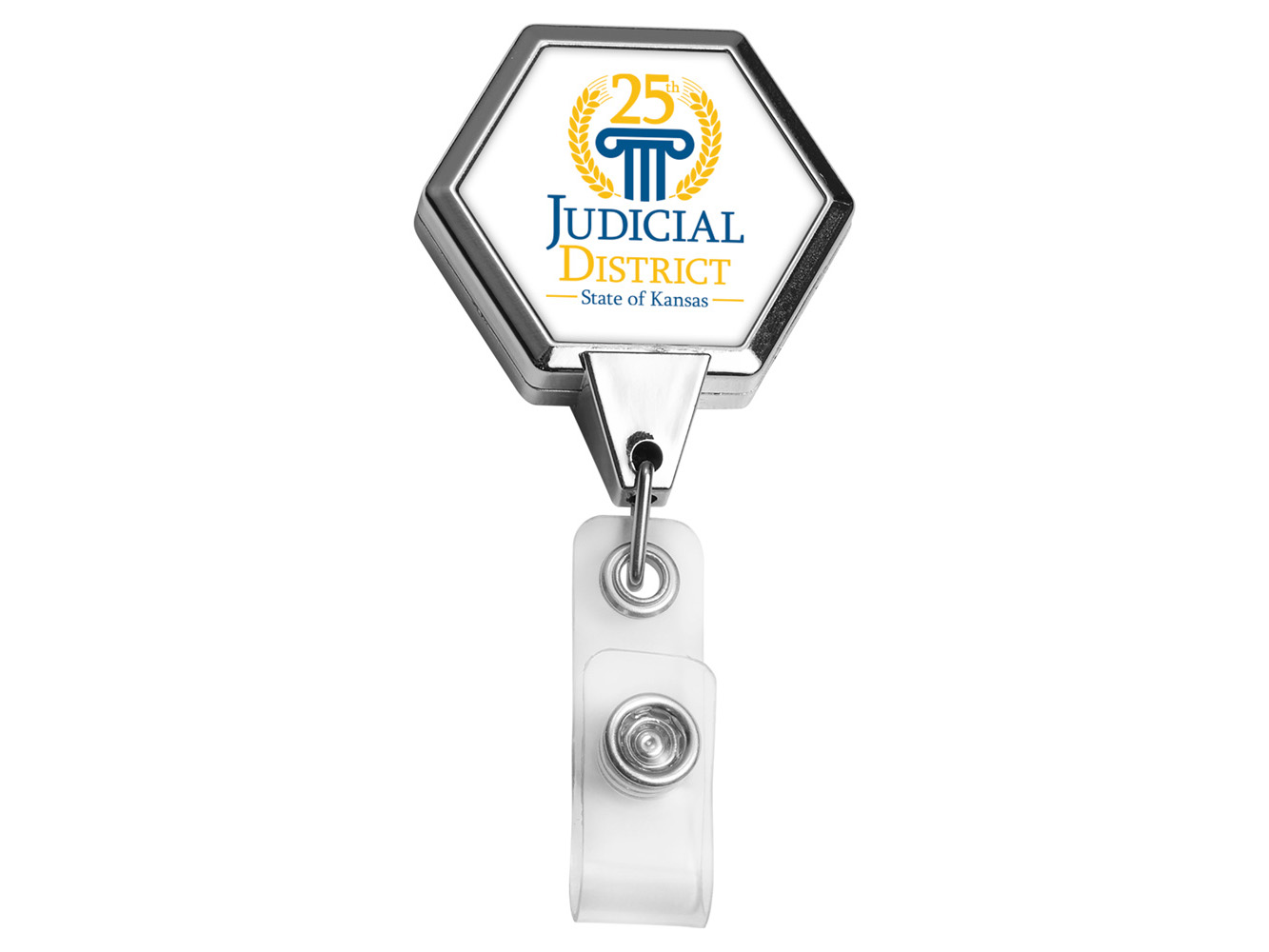 BH39CH:  Chrome JUMBO Hexagon Badge Reel