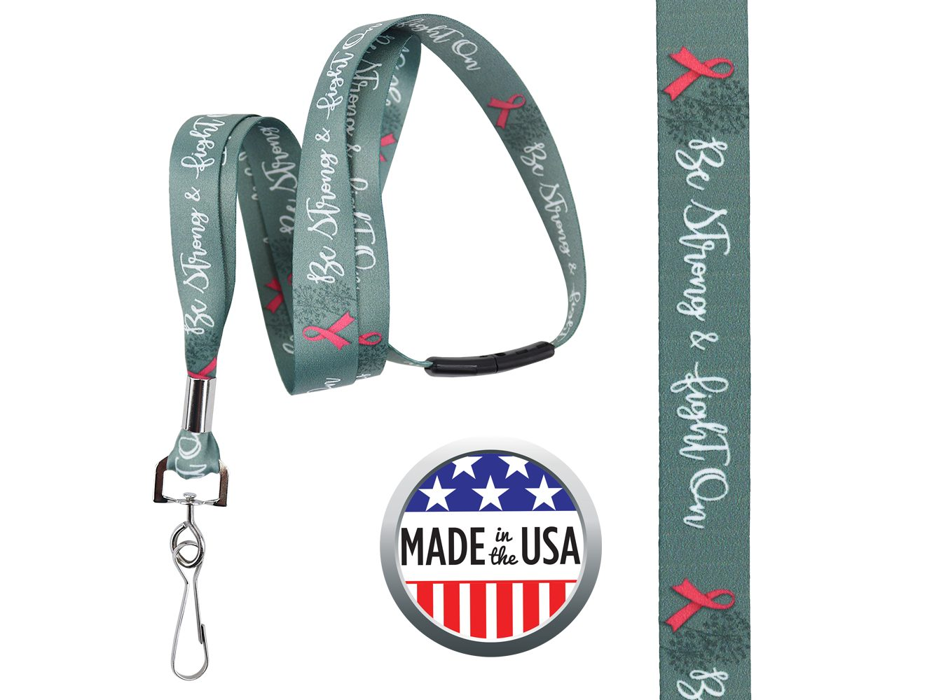 BHBCA01: 5/8″ Pre-decorated Breast Cancer Awareness Lanyards