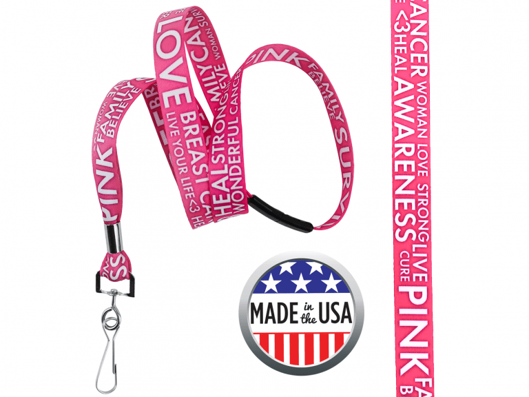 BHBCA02: 5/8″ Pre-decorated Breast Cancer Awareness Lanyards