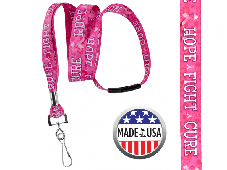 BHBCA03: 5/8″ Pre-decorated Breast Cancer Awareness Lanyards