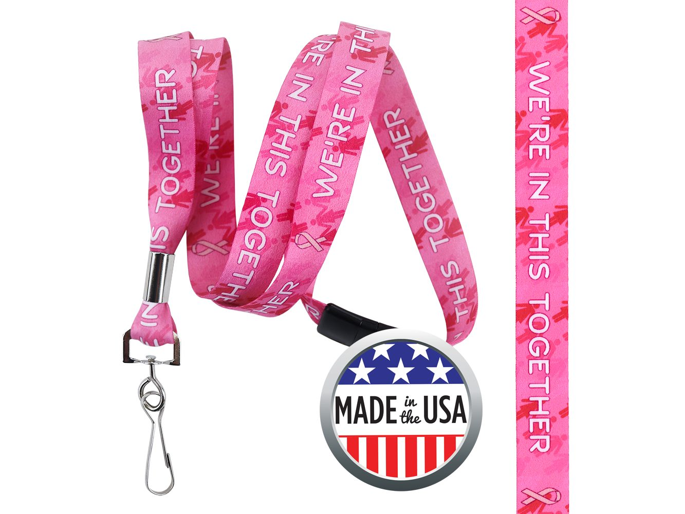 BHBCA04: 5/8″ Pre-decorated Breast Cancer Awareness Lanyards
