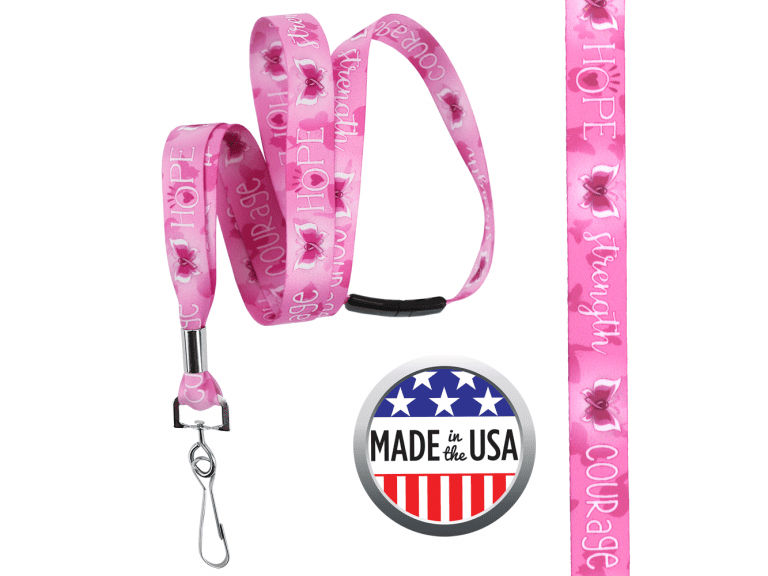 BHBCA05: 5/8″ Pre-decorated Breast Cancer Awareness Lanyards