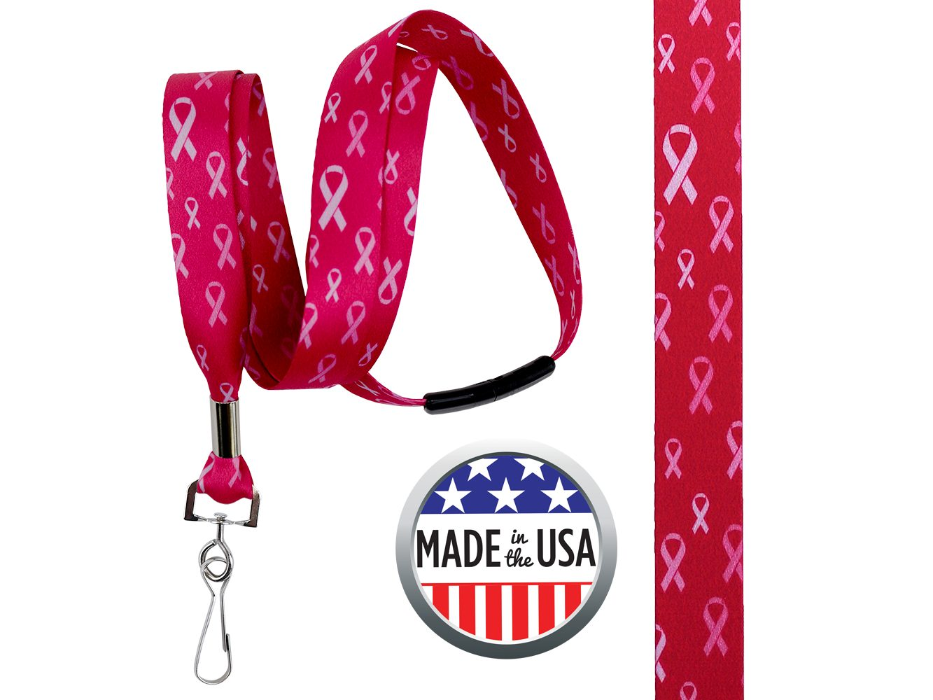 BHBCA06: 5/8″ Pre-decorated Breast Cancer Awareness Lanyards