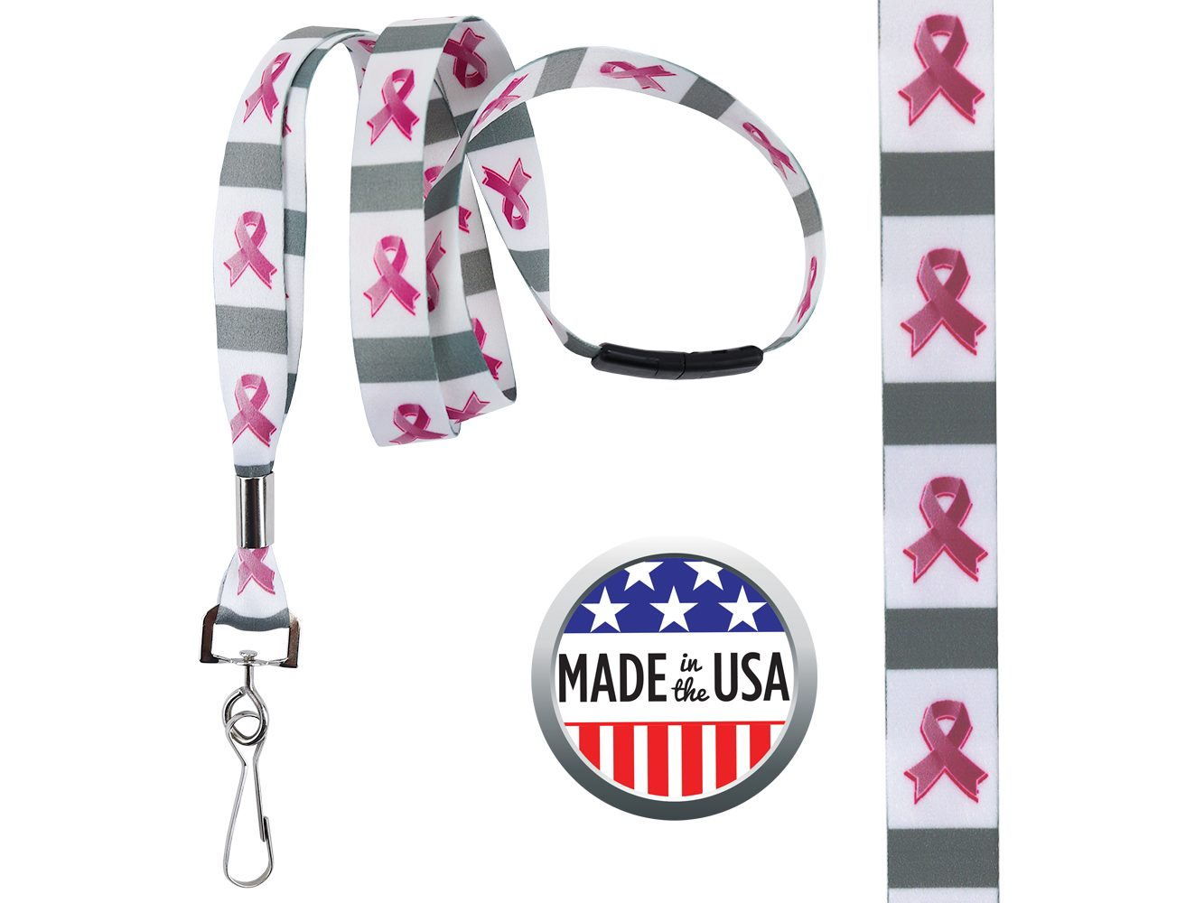 BHBCA07: 5/8″ Pre-decorated Breast Cancer Awareness Lanyards
