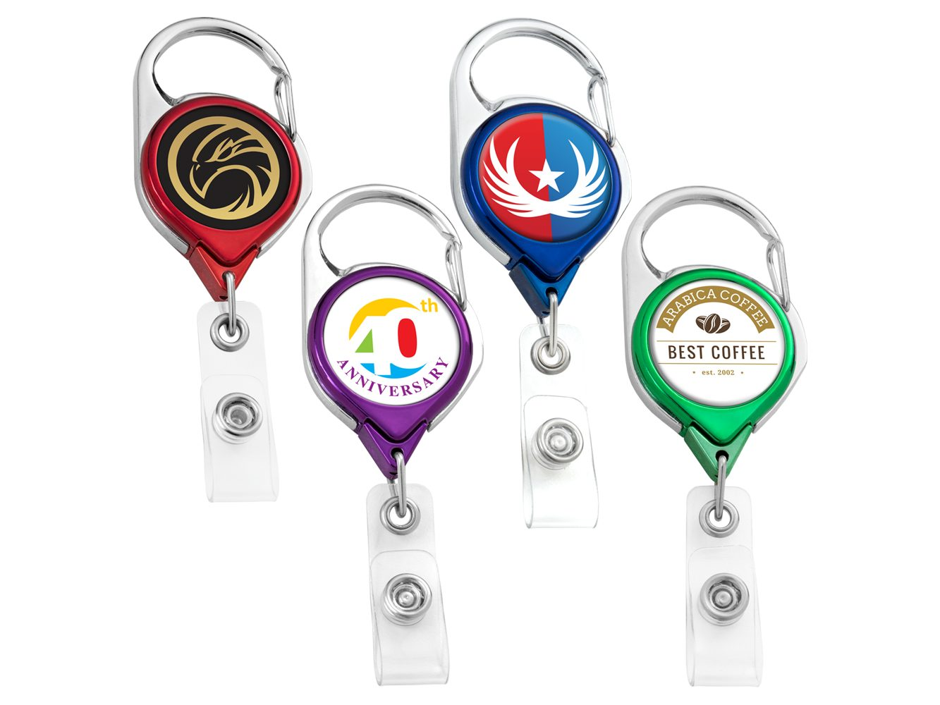 BH68CHCL: Color Chrome Carabiner Badge Reel w/ Belt Clip